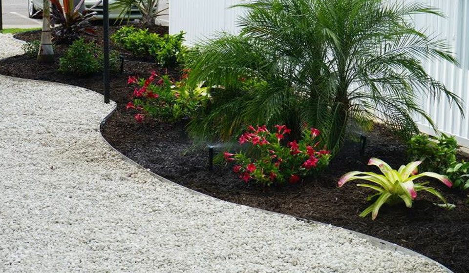 Dark mulch installed at a commercial property in Longboat Key, FL.