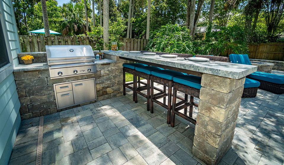 Outdoor kitchen designed and installed at a home in Longboat Key, FL.