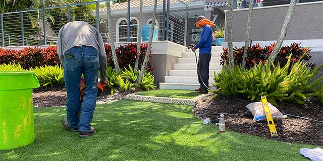 Landscape installation process underway at a Siesta Key, Florida property.