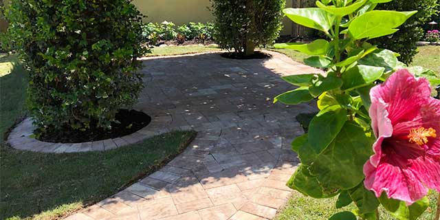 Paver installation project completed at a home in Siesta Key, Florida.