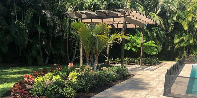 Custom pergola constructed at a home in Sarasota, Florida.