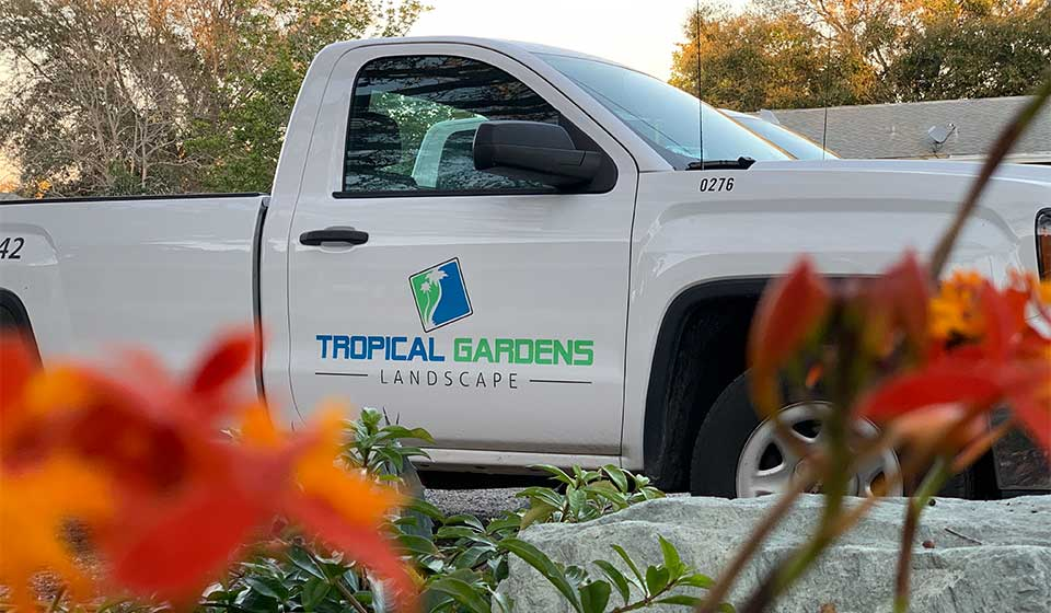 Tropical Gardens Landscape work truck in Sarasota, Florida.